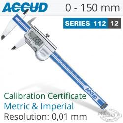 ACCUD COOLANT PROOF DIGITAL CALIPER WITH CALIBRATION CERT 0-150MM