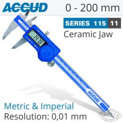 DIGITAL CALIPER WITH CERAMIC TIPPED JAWS 0-200MM/0-8'