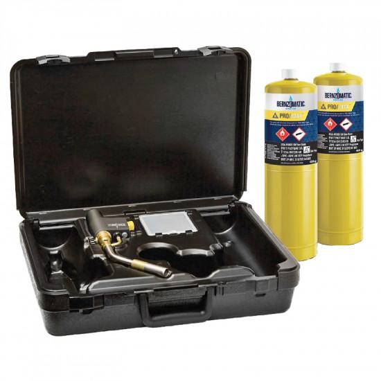 379726 BERNZOMATIC MAX HEAT TORCH KIT WITH 2 PRO MAX CYLINDERS BMC