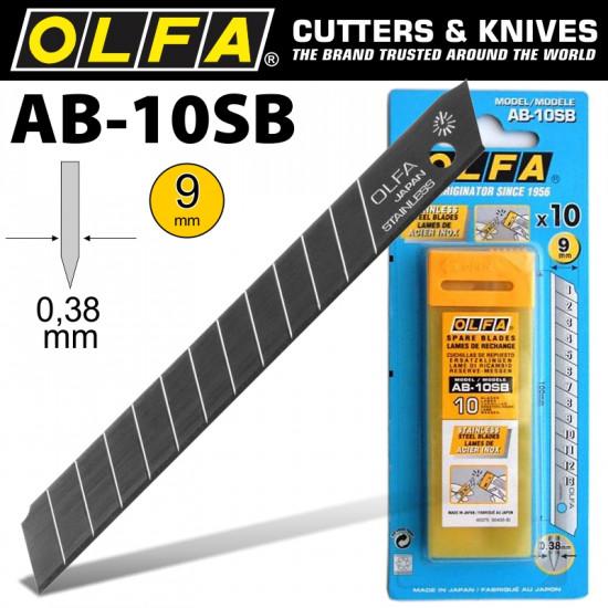OLFA BLADES STAINLESS STEEL BULK 10/PACK 9MM