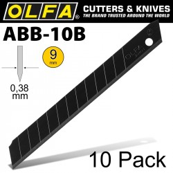 OLFA BLADES EXCEL BLACK 10/PK CARDED ULTRA SHARP 9MM