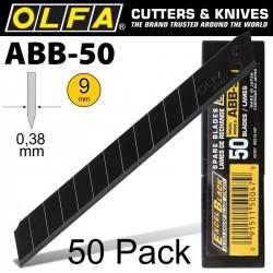 OLFA BLADES BLACK X-SHARP 50 PER PACK ULTRA SHARP 9MM