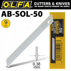 OLFA BLADES SOLID 9MM IN PLASTIC CASE 50/PK 9MM