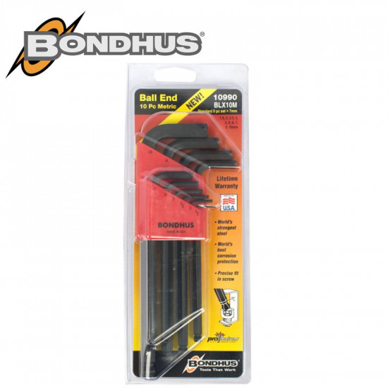 BALL END L-WRENCH 10PC SET 1.5-10MM INCL. 7MM PROGUARD FINISH
