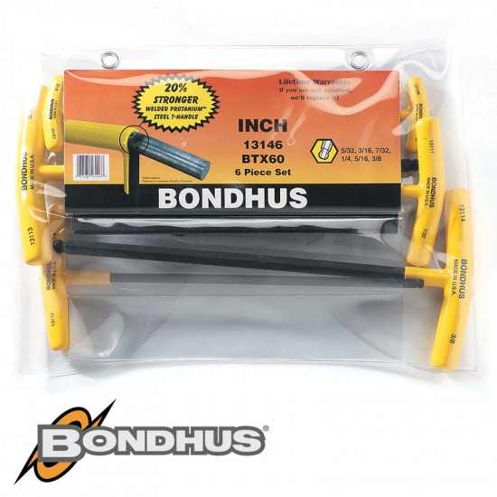 BALL END T-HDL 6PC SET 5/32'-3/8' GRADUATED