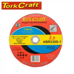 CUTTING DISC (3 PK) STEEL 230X2.0X22.23MM (ABR230S-1)