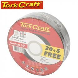 20 + 5 FREE CUTTING DISC INDUSTRIAL METAL 115 X 1.0 X 22.2 MM
