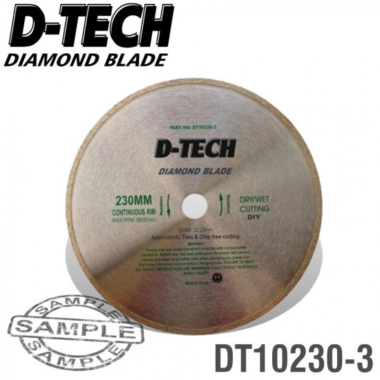 DIAMOND BLADE CONTINUOUS RIM 230 X 22.23MM TILE