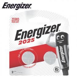 ENERGIZER CR2025 3V LITHIUM COIN BATTERY 2 PACK (MOQ12)