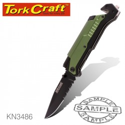 KNIFE SURVIVAL GREEN WITH LED LIGHT & FIRE STARTER IN DOUBLE BLISTER