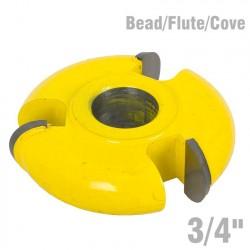3 WING CUTTER 3/4' BEAD/FLUTE/COVE