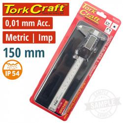 VERNIER DIGITAL 150MM S/STEEL 0.01MM ACC. ABS FUNC. IP54 METRIC / INCH