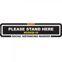 BLACK STAND HERE - 450MM X 110MM SOCIAL DISTANCING STRIPS