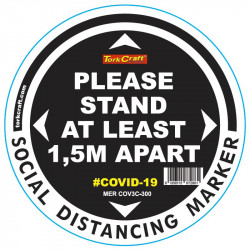 BLACK 1.5M APART - 300MM ROUND SOCIAL DISTANCING GRAPHIC