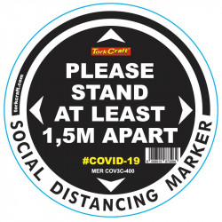 BLACK 1.5M APART - 400MM ROUND SOCIAL DISTANCING GRAPHIC