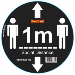 BLACK 1M DBL ARROW - 300MM ROUND SOCIAL DISTANCING GRAPHIC