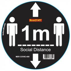 BLACK 1M DBL ARROW - 400MM ROUND SOCIAL DISTANCING GRAPHIC