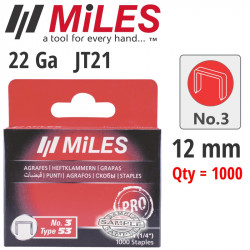 GALV STAPLES 22G JT21 12MM X 1000PCS MILES NO3