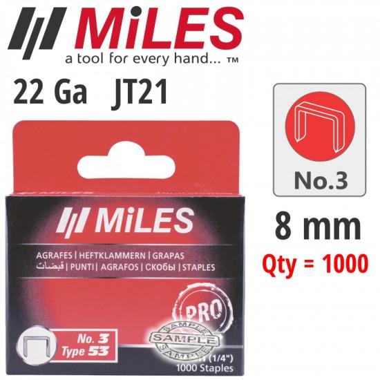 GALV STAPLES 22G JT21 8MM X 1000PCS MILES NO3