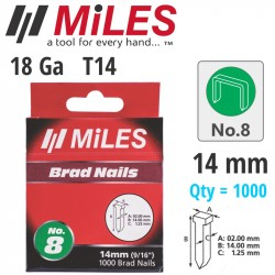GALV BRAD NAIL T14 18G 14MM X 1000PCS MILES NO8