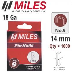 GALV HEADLESS PIN 18G 14MM X 1000PCS MILES NO9