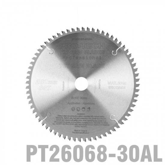 SAW BLADE TCT 260X2.4X30X68T ALUMINIUM PROF. PRO-TECH FES. KAPEX