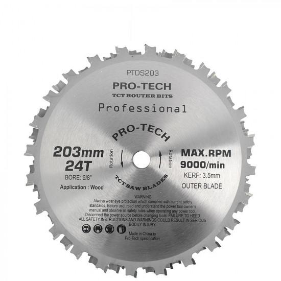DADO SET 203MM X 15.88 X 24T 4 X 1/8' 3/32'1/16' CHIP 27.5MM
