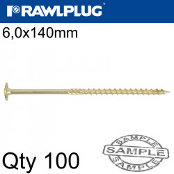 TIMBER CONSTRUCTION SCREW 6X140 MM ZINC PLATED BOX OF 100