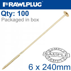 TIMBER CONSTRUCTION SCREW 6X240 MM ZINC PLATED BOX OF 100
