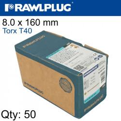 TIMBER CONSTRUCTION SCREW 8.0 X 160MM X50-BOX TORX T40