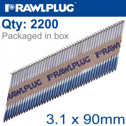 TIMBER NAILS CLIPPED RING 3.1MM X 90MM 2200 PER BOX WITH X2 FUEL CELLS