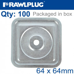 SQUARE STEEL WASHER 64MM,7,0MM WITH ZINC COATING BOX OF 100