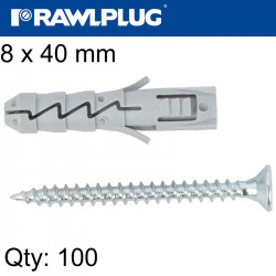 EXPANSION PLUG FIX 8X40MM WITH SCREW 100PSC PER TUB