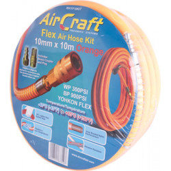 FLEX AIR HOSE KIT 10MM X 10M ORANGE  W/QUICK COUPLER & CONNECTOR YOHKO