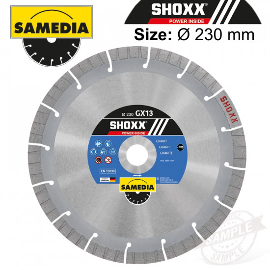 DIAMOND BLADE 230MM SEGMENTED IND GRANITE LONG LIFE SHOXX GX13