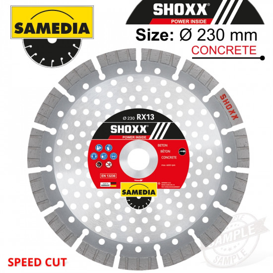 DIAMOND BLADE 230MM SEGMENTED IND REINF. CONCRETE SPEED CUT SHOXX RX13
