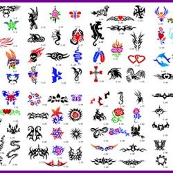 BOOK 01 TATTOO STENCILS 100 DESIGNS PER BOOK 4 DESIGNS ON EA  A4 SHEET