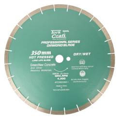 DIA. BLADE 350X25.4MM GREEN/NEW CONCRETE HOT PRESSED