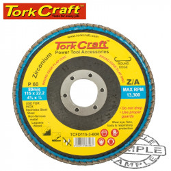 FLAP DISC ROUND EDGE ZIRCONIUM 115MM 60 GRIT FLAT