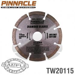 DIAMOND BLADE SEGMENTED 115MM PINNACLE BRAND